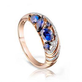 Кольцо с сапфирами и бриллиантами из розового золота 92845