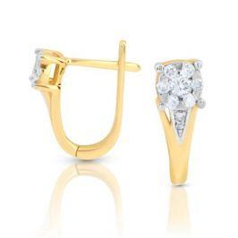 Серьги с бриллиантами из розового золота 100190