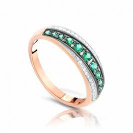 Кольцо с изумрудами и бриллиантами из розового золота 99402