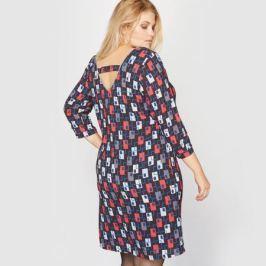 Платье свободное с рисунком и завязками сзади