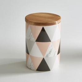 Горшок керамический с бамбуковой крышкой
