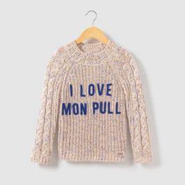 Пуловер с высоким воротником, надпись I Love, 3-14 лет