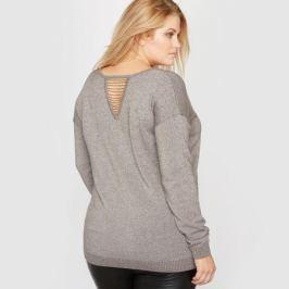 Пуловер с V-образным вырезом из блестящего трикотажа с отделкой спинки мелким бисером