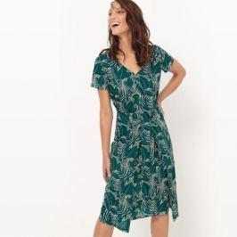 Платье с завязками и тропическим рисунком