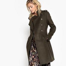 Пальто длинное в стиле милитари, 55% шерсти