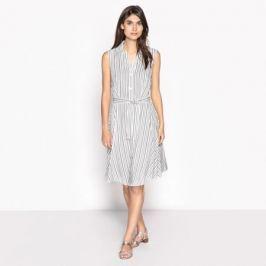 Платье расклешенное с рисунком в полоску, без рукавов