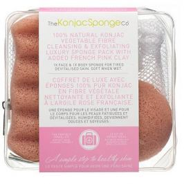 The Konjac Sponge Company, Набор Travel/Gift Sponge Bag Duo Pack With Pink Clay