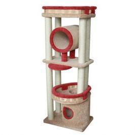 Домик для кошек ПУШОК Округлый с плетеной лежанкой и трубой, ковролиновый, 65х45х185см