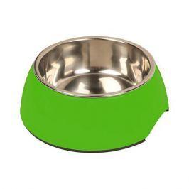 Миска для животных MAJOR металл на меламиновой подставке, зеленая 235мл