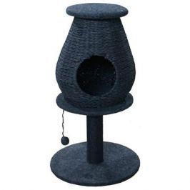 Когтеточка для кошек MAJOR Домик плетеный на столбике с игрушкой 50х50х85см D=9см серый