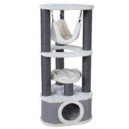 Дом-когтеточка для кошек MAJOR трехуровневый угловой с гамаком и домиком 50x50x120cv серо-белый