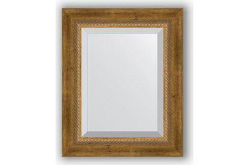 Зеркало с фацетом в багетной раме Evoform Exclusive 43x53 см, состаренное бронза с плетением 70 мм (BY 3354) Мебель для ванных комнат