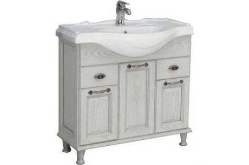 Тумба с раковиной Акватон Жерона 85 белое серебро (1A158501GEM20 + 7327206000) Мебель для ванных комнат