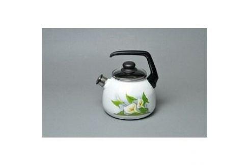 Чайник эмалированный со свистком 3.0 л СтальЭмаль Каллы (4с209я) Чайники
