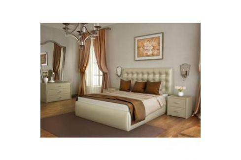 Кровать Lonax Аврора с основанием экокожа albert pearl (160x190 см) Кровати для спальни