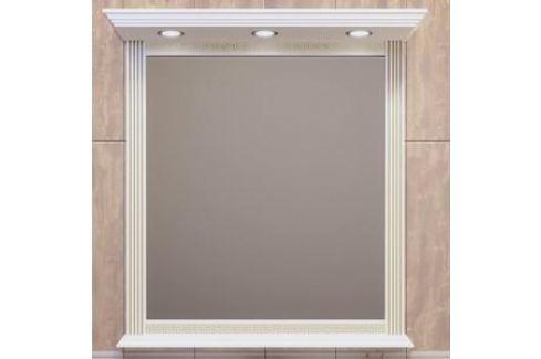 Зеркало в деревянной раме Opadiris Корлеоне 100 белый с бежевой патиной, с подсветкой (Z0000008160) Мебель для ванных комнат