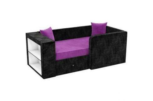 Детский диван АртМебель Орнелла микровельвет фиолетово-черный правый угол Детские диваны