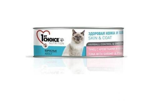 Консервы 1-ST CHOICE Adult Cat Skin & Coat Tuna with Shrimp & Pineapple тунец с креветками и ананасом здоровая кожа и шерсть для кошек 85г(102.6.005) Электроника и оборудование