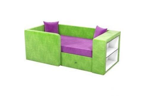 Детский диван АртМебель Орнелла микровельвет фиолетово-зеленый левый угол Детские диваны