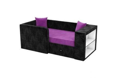 Детский диван АртМебель Орнелла микровельвет фиолетово-черный левый угол Детские диваны