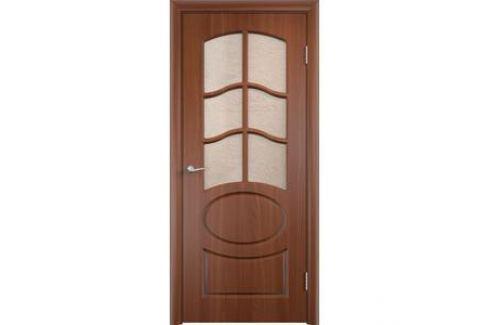 Дверь VERDA Неаполь 2 остекленная 1900х600 ПВХ Итальянский орех Межкомнатные двери