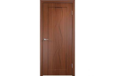 Дверь VERDA Вираж глухая 2000х600 ПВХ Итальянский орех Межкомнатные двери