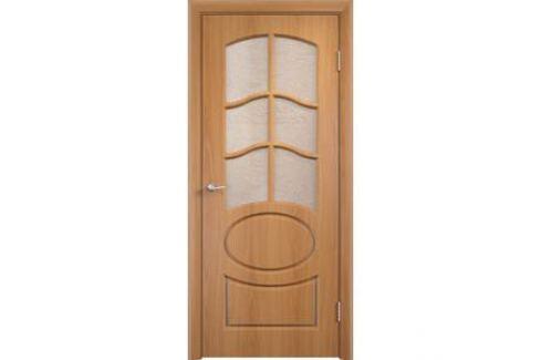 Дверь VERDA Неаполь 2 остекленная 2000х800 ПВХ Миланский орех Межкомнатные двери