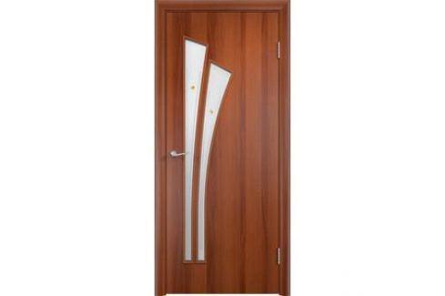 Дверь VERDA Тип С-7(Ф) остекленная 2000х800 МДФ финиш-пленка Итальянский орех Межкомнатные двери