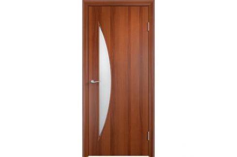 Дверь VERDA Тип С-6(о) остекленная 2000х800 МДФ финиш-пленка Итальянский орех Межкомнатные двери