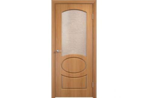 Дверь VERDA Неаполь остекленная 2000х700 ПВХ Миланский орех Межкомнатные двери