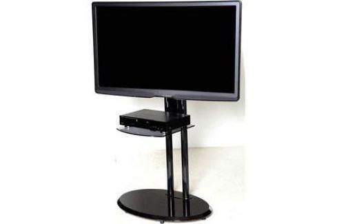 Тумба под телевизор Allegri Стелла 2 с полкой каркас черный стекло черное Тумбы под телевизор