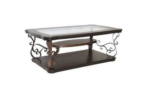 Стол журнальный Мебелик Лючия 2101 темно-коричневый/ прозрачное Журнальные столы