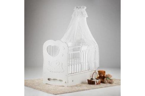 Островок уюта Кровать детская Слоненок (белый) маятник поперечный с ящиком Кроватки