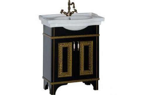 Тумба под раковину Aquanet Валенса 70 черный краколет/золото (180307) Мебель для ванных комнат