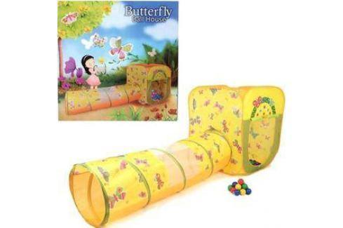 Домик Bony с тоннелем с шариками Квадрат Бабочки LI523 85х85х100 D-48х180 100 шаров Игровые домики