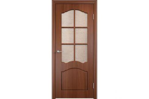 Дверь VERDA Лидия остекленная 2000х600 ПВХ Итальянский орех Межкомнатные двери