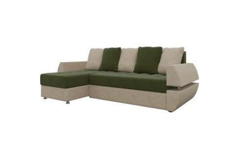 Диван угловой АртМебель Атлант УТ микровельвет зелено-бежевый левый Угловые диваны