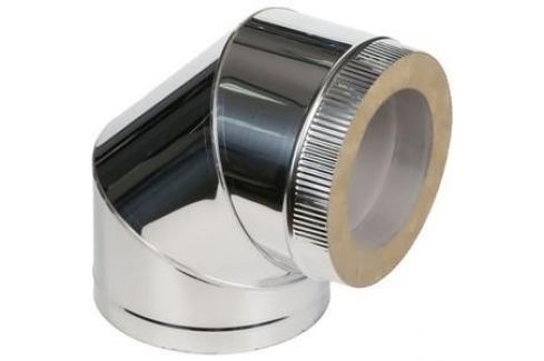 Отвод Феникс сэндвич 110/200 мм угол 90 градусов сталь AISI 430 (0.5 нерж.мат./0.5 нерж.зерк.)(00989) Сэндвич