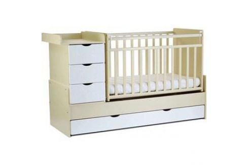 Кровать трансформер СКВ Компани 5 опускающаяся боковина поперечный маятник 4 ящика накладка ПВХ береза белый фасад жираф (КС5400 35-1) Кроватки
