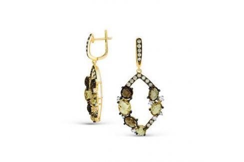Серьги с кварцем и бриллиантами из желтого золота VALTERA 53355 Изделия из золота
