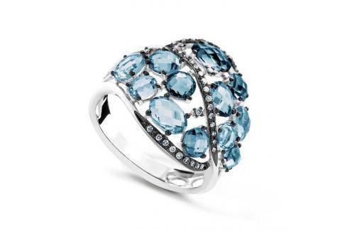 Кольцо с бриллиантами и топазами из белого золота VALTERA 64067 Изделия из золота