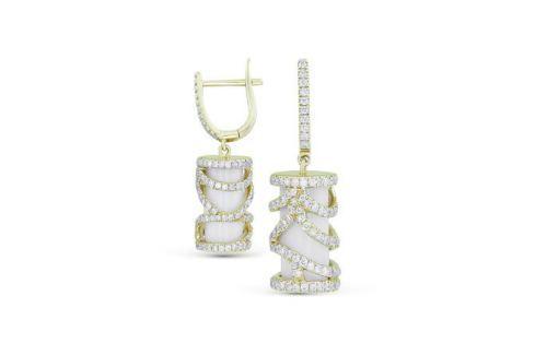 Серьги с агатами и бриллиантами из желтого золота VALTERA 27922 Изделия из золота